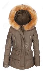 Designer Winter Jackets Elegant Designer Fur Lined Ladies Winter Jacket Isolated On