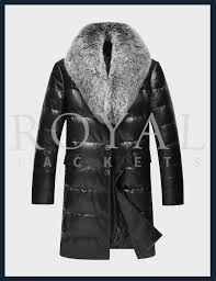 mens fur collar leather coat