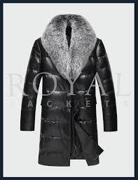 mens fur collar leather coat