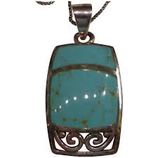 vintage sterling silver turquoise necklace thailand to expand