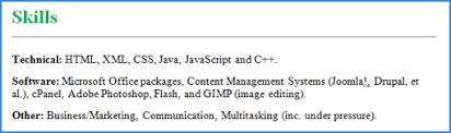 resume example for skills section examples of best skills to include on a cv cv plaza