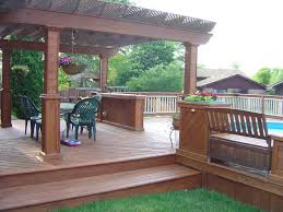 cedar deck around the pool traditional