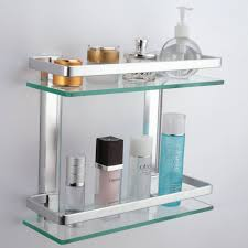 Bathroom Shelf Amazoncom Kes Bathroom 2 Tier Glass Shelf With Rail Aluminum And
