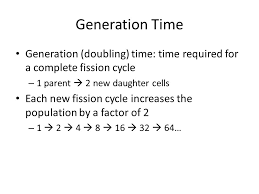 generation time generation doubling time time required for a complete fission cycle