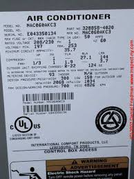 air conditioners air conditioner data air conditioning heat a c data tags air conditioner heat pump data tags de coded