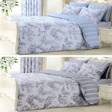details about reversible duvet quilt cover set with pillowcase vintage grey or blue toile