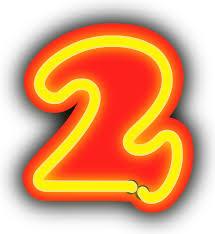 clipart neon numerals 2