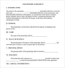 Sample Partnership Agreement Form Free 11 Sample Business Partnership Agreement Templates In
