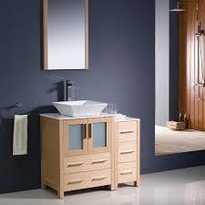 Light Oak Bathroom Furniture Fresca 36 Light Oak Vessel Sink Bath Vanity Side Cabinet Mirror
