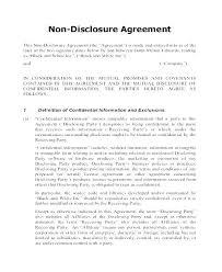 Basic Non Disclosure Agreement Template Free Non Disclosure