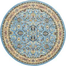 unique loom kashan collection light blue 8 ft round area rug 8 x