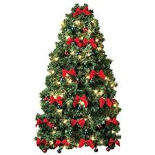 Small Prelit Christmas Tree for Wall Electric Corded White Lights, Colored  Ornaments and Red Bows