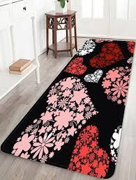 fashion love heart flower print soft area rug