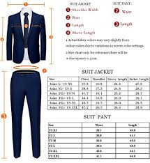 Suit Pants Size Chart Wulful Mens S Suit One Button Slim Fit 2 Piece Suit Casual