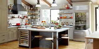 Kitchen:Warm Kitchen With Exposed Gray Brick Wall And Rustic Island Warm  Kitchen With Exposed