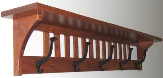 Wood Coat Racks Wall Mounted Furniture Brown Wooden Coat Hanger And Rack With Bronze Hook And 46