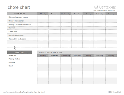 Make A Chore List Free Kids Chore Chart Template