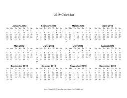 print a calendar 2019 printable 2019 calendar one page with large print