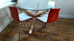 bhs solid oak glass top dining table and 4 modern chairs