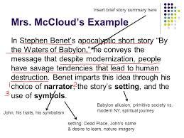 "preparing for the short story essay short story essay prompt how  8 mrs mccloud s example in stephen benet s apocalyptic short story ""by the waters of babylon"