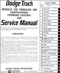 1965 dodge 100 700 pickup truck repair shop manual original table of contents