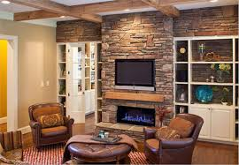 Living Room Design With Stone Fireplace And Luxury Furniture Set ...