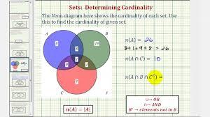 Elements Of A Venn Diagram Ex Determine Cardinality Of Various Sets Given A Venn Diagram Of