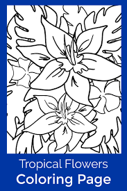 Free colouring pages for kids (that's coloring pages for those of you not using canadian/british spelling) for children to print out and colour offline with crayons. Hawaiian Tropical Flowers Coloring Page Mama Likes This