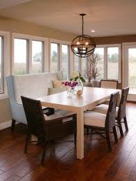bench dining room table wood floor pillows chairs flowers windows door ceiling light chandelier of bench dining room table binations in a dining area
