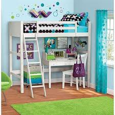 white furniture cool bunk beds: twin size loft bunk bed with ladder over desk kids wood furniture bedroom new in home