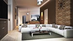 charming decorating living room ideas displaying natural brick stone wall decor and white leather sectionals sofa