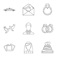 Wedding Icons Set Outline Illustration Of 9 Wedding Vector Icons