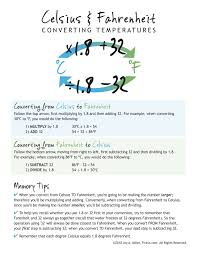 Celsius And Fahrenheit Conversion Chart Nursing School