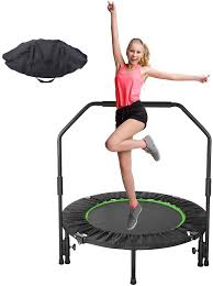 """Amazon.com : GARTIO 40"""" Exercise Trampoline, Portable & Foldable Mini  Rebounder with Adjustable Handrail and Safety Pad, Indoor Outdoor Fun  Fitness Training Workouts for Kids Adults, Max Load 330lbs : Sports &"""