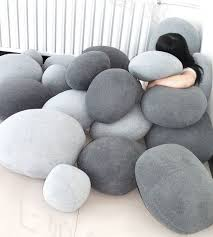 Set of 6 Pebble Stone Pillows Beige or grey stone Rock like