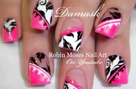 DIY Elegant Damask Nails | Pink and Black Nail Art Design Tutorial ...
