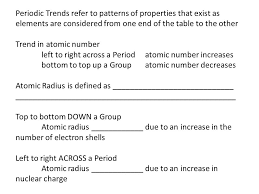 Periodic Trends refer to patterns of properties that exist as ...