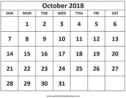 Print October 2018 Calendar