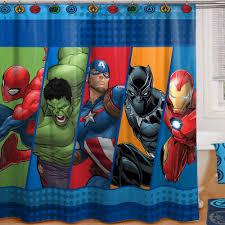 marvel comics shower curtain iron man black panther captain america hulk
