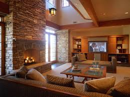 country style living room with stone fireplace