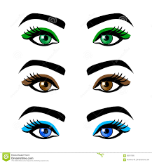royalty free vector collection female eyes and eyebrows of shapes diffe colors with without makeup stock