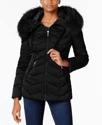 faux fur trim hooded coat t tahari black 4753099 wuunjqs
