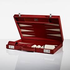 linley games and sporting red backgammon board luxury gifts homeware furniture interior design bespoke