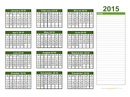 Monthly Calendar Excel Template 2015