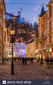 Castle Christmas Lights Sritar Street With Ljubljana Castle In The Background