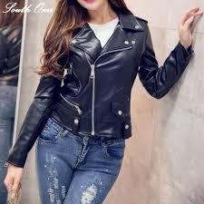 faux leather jacket women moto biker jackets zip coats