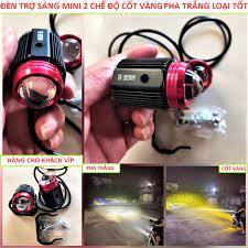 Đèn pha xe máy 2 chế độ cốt vàng pha trắng siêu sáng có video , đèn pha led  xe máy bảo hành 12 tháng , đèn trợ sáng xe máy ,