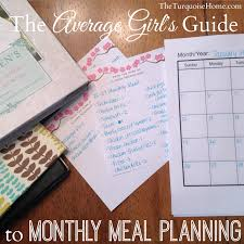 monthly planning guide the average girls guide to monthly meal planning the turquoise home