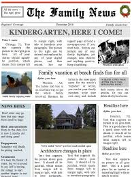 Newspaper Template No Download Two Page Family Times Newspaper Template Instant Download To Etsy