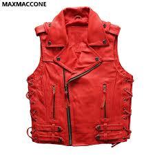 2018 men red leather vest plus size 3xl oblique zipper genuine cowhide slim fit short men
